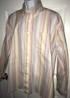 Alan Flusser Striped Long Sleeve Dress Shirt XL Pink Gold Blue EUC