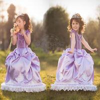 Kids Girls Dress Disney party dress Elsa Frozen  costume Princess Cosplay HOT