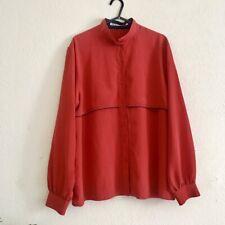 Vintage 1980s Red Shirt Italian Designer Size 10 Pyjama Style Bloggers Insta