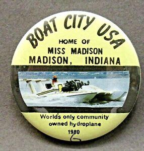 scarce 1980 MISS MADISON BOAT CITY #6 pinback button Hydroplane boat racing  j1