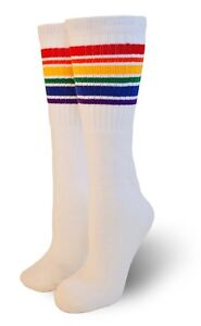 Pride Socks Unisex Rainbow Thigh High Tube Socks Fearless