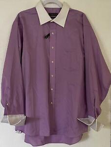 DONALD J. TRUMP Signature Collection Men Soft Lilac Dress Shirt 18 34/35 NEW TAG