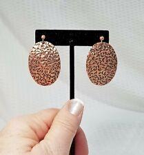 Vintage Hammered Copper Oval Dangle Earrings