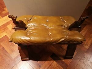Real Leather Camel Wooden Stool/Seat