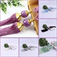 2PCS Curtain Holdbacks Rope Tie Backs Tassel Beaded Ball Home Windows Decor  c