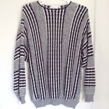 ST. CROIX Sweater Round Neck Vertical Stripe Wool Blend Cosby Style Mens Size XL