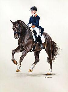 "DRESSAGE HORSE pet animal realism 11""x14"" original drawing on paper by ArtKaska"