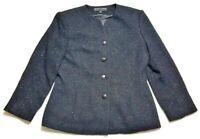 Kasper Womens 12  Black Jacket Blazer Fuzzy Shimmer Blazer Metallic Work Dressy