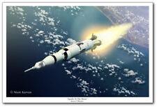 Apollo To The Moon by Mark Karvon - Apollo Saturn V Rocket - Space Art Print