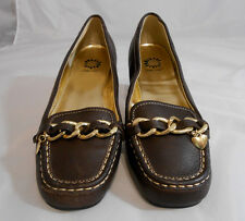 Yellow Box ANNIE Brown / Tan Leather Flats Loafers Mock Gold Chain Womens Size 8