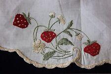 "Antique Society Silk Hand Emb Strawberries & Flowers On Linen~16"" Round"