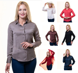 Celino Long Sleeve Button Up Shirts for Women Satin Solid Colour, Made in Europe