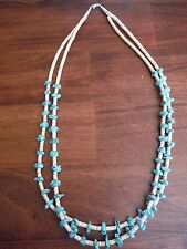 Native American Santo Domingo Turquoise Nugget & Melon Heishi 2-Strand Necklace
