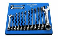 14pc STUBBY METRIC COMBINATION SPANNER / WRENCH SET US PRO TOOLS 2272 6mm - 19mm