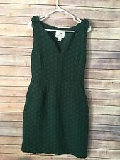 Anthropologie Quilted Tema Dress by Tabitha Forest Green Size 8 Basket Weave