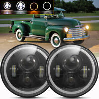 Pair 7 Inch LED Headlight Round HI/LO Sealed Beam for Chevy Pickup Truck 3100