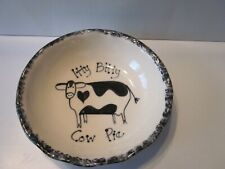 Vintage Itty Bitty Cow Pie Handmade Cow Image Pottery Bowl with Scalloped Edge