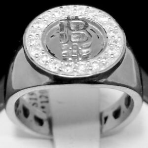 Men's 14k White Gold Tone Genuine Real Sterling Silver Bitcoin Logo Pinky Ring