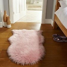 Soft Pink Shaggy Rugs Non Slip Bedroom Mats Fluffy Soft Faux Fur Sheepskin Rug