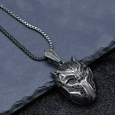 "Black Panther Inspired Pendant Necklace with Box Chain 20"" -18K Black Gold Fill"