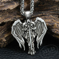 Saint St Michael Archangel Wings Cross Pendant Necklace & Stainless Steel Chain