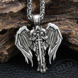 Saint St Michael Archangel Wings Cross Pendant Necklace & Stainless Steel Chain