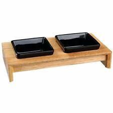 Ceramic Dog Feeder Bowls Wooden Stand Robust Quality Non-Slip Modern Stylish