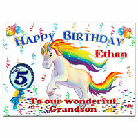 g382; Large A5 Personalised Birthday card; Magical horse unicorn; Any name, age