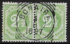 Curacao stamps VierkantCANC BONAIRE on NVPH 15  PAIR  VF