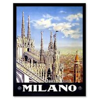 Travel Duomo Cathedral Milan Italy Vintage 12X16 Inch Framed Art Print