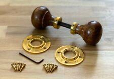 6 Pairs Of Polished Brass & Teak Style Wooden Wood Mortice Rim Door Knobs Pair