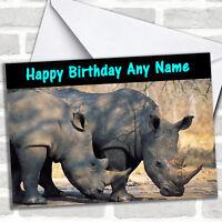 Rhinoceros Rhino Personalized Birthday Card