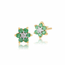 9ct Yellow Gold 0.33ct Emerald & Diamond Classic Cluster Stud Earrings