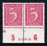 DR Mi Nr. 158 ** Paar HAN, Infla Ziffer Deutsches Reich 1921, postfrisch, MNH