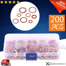 200Pcs Solid Copper Washer Flat Ring Sump Plug Oil Seal Assorted Set Box XRAU