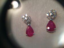Gabriel & Co 14k White Gold Natural Ruby & Diamond Stud to Drop Earrings $795