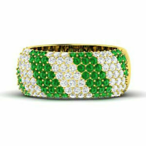 1.32 Ct Natural Diamond Emerald Band 14K Solid Yellow Gold Ring Size N M J K I O