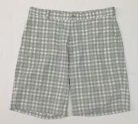 Nike Golf Men's Plaid Dri Fit Flat Front Shorts - Gray - Size 36