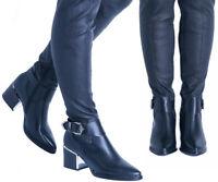Women's Boots Ladies Over The Knee High Mid Block Heel Stretch Side Zip Shoes