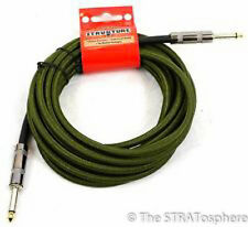 NEW Premium Woven Electric GUITAR CORD CABLE 18.5' ARMY GREEN