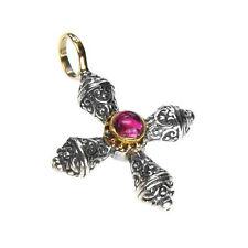 Gerochristo 5274 ~ Gold, Silver & Tourmaline ~ Medieval-Byzantine Cross Pendant