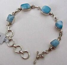 Sterling silver bracelet with ocean blue larimar natural gemstones