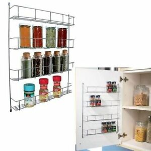 Spice Rack Chrome Plated 4 Tier Hanging Jar Organizer Wall Cabinet Storage Unit