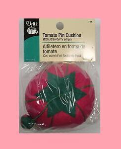 "Dritz Pink Tomato Pin Cushion - 2 3/4"" diameter with a Strawberry Emery Sharpner"