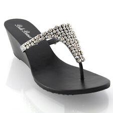 Ladies Flat Diamante Toe Post Womens Sparkley Dressy Party Sandals Size 3 4 5 6