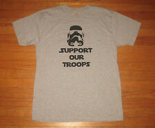 SUPPORT OUR TROOPS T-Shirt, Men's Sz LARGE, Heather Gray, FUNNY Busted Tees NEW
