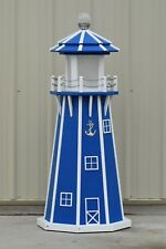 4' Octagon Electric and Solar Powered Poly Wood Lighthouse (Blue/white trim)