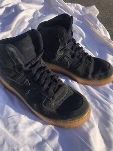 Nike Men's Air Force 1 High Top Black Suede Gum sole Size 10 Men Sneakers