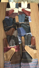 3 Pairs Patchwork Leather And Canvas? Gardening Gloves Unisex (1)