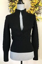 Veronique Branquinho Black Cable Knit Deep V Neck Fitted Wool Sweater Size 38